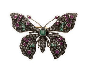 2.00ct Diamond, Emerald & Ruby Butterfly Brooch