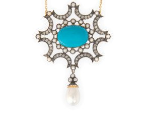 Turquoise, Pearl & Diamond Necklet