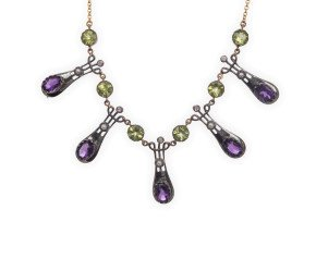 Amethyst Peridot Seed Pearl & Diamond Necklace