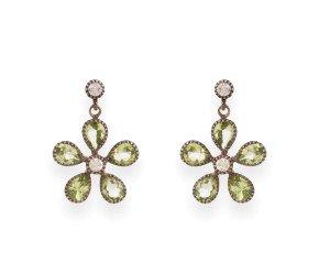 Peridot & Diamond Flower Drop Earrings