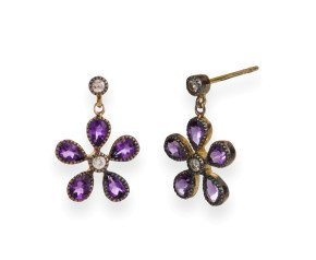 Amethyst & Diamond Flower Drop Earrings