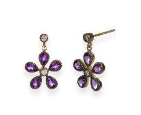 Amethyst & Diamond Flower Drop Earrings