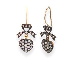 Seed Pearl & Diamond Heart Earrings
