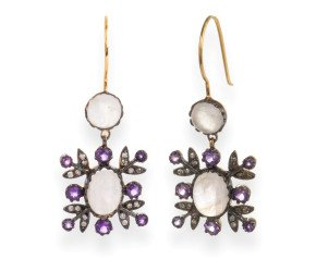 Moonstone, Amethyst & Diamond Drop Earrings