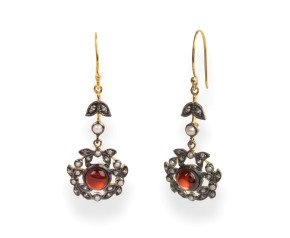 Garnet, Diamond & Seed Pearl Drop Earrings