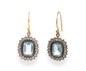 4.00ct Topaz & Diamond Cluster Drop Earrings