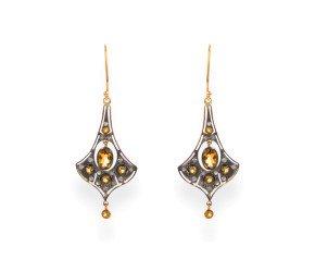 Citrine & Diamond Drop Earrings