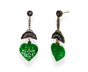 Jadeite, Diamond & Enamel Drop Earrings
