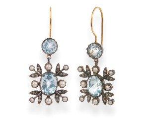 6.20ct Topaz, Seed Pearl & Diamond Drop Earrings