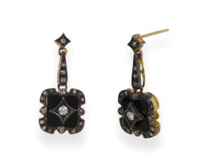 0.50ct Diamond & Onyx Drop Earrings