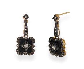 0.50ct Diamond & Onyx Drop Earrings