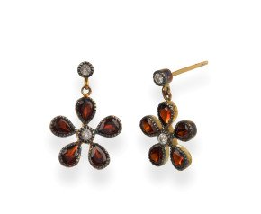 Garnet & Diamond Flower Drop Earrings