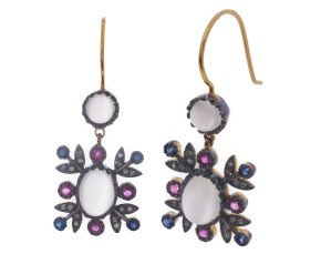 Moonstone Ruby Sapphire & Diamond Drop Earrings