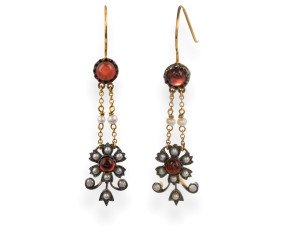 Garnet, Seed Pearl & Diamond Drop Earrings