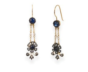 Sapphire, Seed Pearl & Diamond Drop Earrings