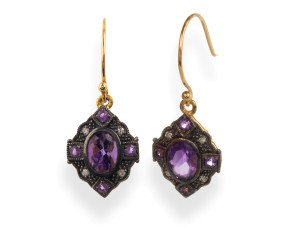 Amethyst & Diamond Drop Earrings