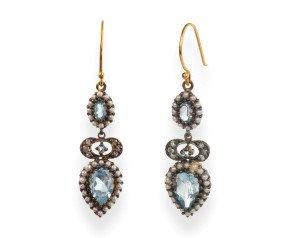 Topaz, Seed Pearl & Diamond Drop Earrings