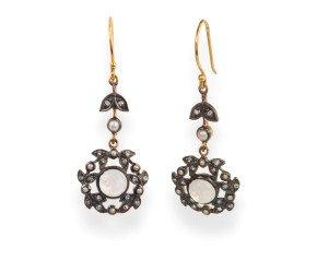 Moonstone, Diamond & Seed Pearl Drop Earrings