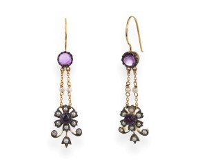 Amethyst, Seed Pearl & Diamond Drop Earrings