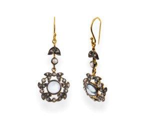 Topaz, Diamond & Seed Pearl Drop Earrings