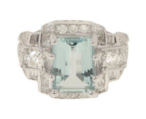 3.03ct Aquamarine & Diamond Cocktail Ring