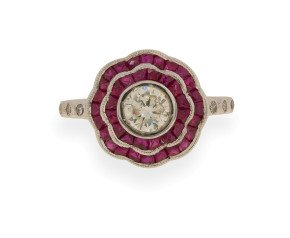 18ct White Gold 0.46ct Diamond & Calibre Cut Ruby Cluster Ring