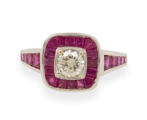0.44ct Diamond & Calibre Cut Ruby Halo Ring