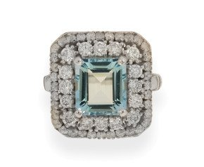 18ct White Gold 2.79ct Aquamarine & Diamond Cocktail Ring