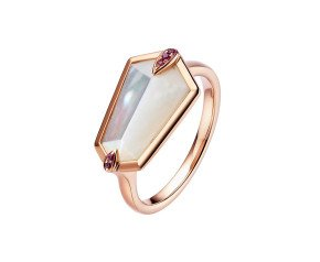 18ct Rose Gold Mother Of Pearl & Pink Sapphire Nova Kite Ring