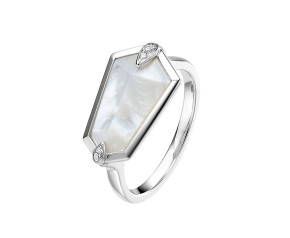 18ct White Gold Mother Of Pearl & Diamond Nova Kite Ring