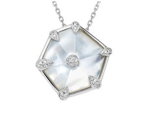 18ct White Gold 1.50cts Mother of Pearl & Diamond Small Nova Pendant