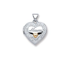 Sterling Silver Mum Two Hearts Locket
