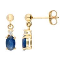 9ct Yellow Gold 6mm Sapphire & Diamond Oval Shape Drop Earrings
