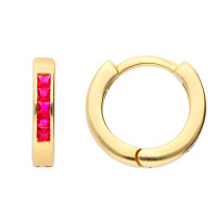 9ct Yellow Gold Ruby Hinged Hoop Earrings