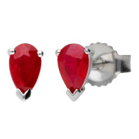 9ct White Gold 5mm Ruby Solitaire Pear Shape Stud Earrings