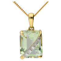 9ct Yellow Gold Green Amethyst & Diamond Pendant