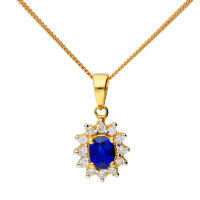 18ct Yellow Gold Sapphire & Diamond Cluster Pendant