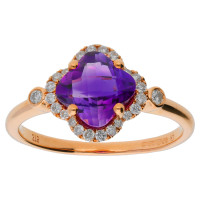 9ct Rose Gold Clover 1.22ct Amethyst & Diamond Cluster Ring