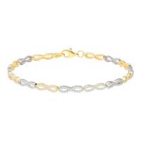 9ct Yellow & White Gold Cubic Zirconia Infinity Bracelet