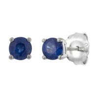 18ct White Gold 4mm Sapphire Solitaire Round Shape Stud Earrings