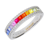 18ct White Gold Rainbow Sapphire & Diamond Dress Ring
