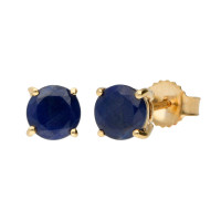 9ct Yellow Gold 5mm Round Sapphire Solitaire Stud Earrings