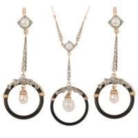 Handcrafted Italian Art Deco Inspired Pearl Diamond & Onyx Pendant & Drop Earrings Jewellery Set