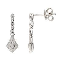 9ct White Gold Diamond Drop Earrings