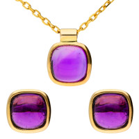 9ct Yellow Gold Amethyst Earrings & Pendant Jewellery Set