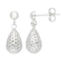 9ct White Gold Pierced Drop Earrings