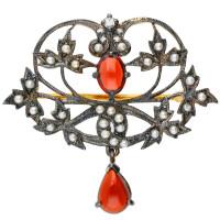 Garnet, Seed Pearl & Diamond Brooch