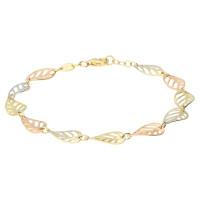 9ct Yellow White & Rose Gold Fancy Leaf Bracelet