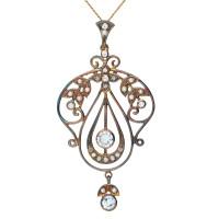 Topaz, Seed Pearl & Diamond Pendant