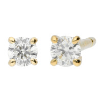 9ct Yellow Gold 0.15ct Diamond Solitaire Stud Earrings